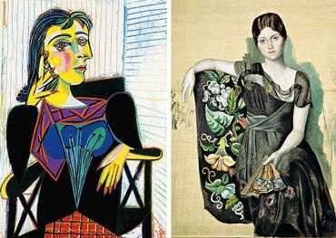 A sinistra il ritratto di Dora Maar del 1937; a destra, «Portrait d'Olga dans un fauteuil» dipinto nella primavera 1918. Dora Maar, fotografa, visse con Picasso per sette anni tormentati. «È l'incarnazione del dolore», diceva di lei il pittore. Quando Olga Kokhlova, danzatrice nei Balletti russi di Diaghilev, sposò Picasso la suocera le disse: «Non sai a cosa vai incontro»
