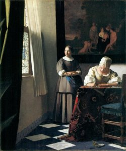 J. Vermeer A lady writing a letter with her maid, 1670-71